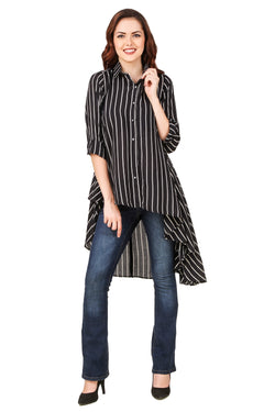 Black Striped High Low Top