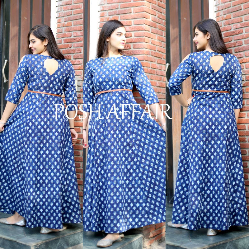 Blue Cut Shoulder Maxi Dress