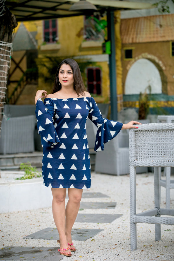 Blue Triangle Bell Sleeves Dress
