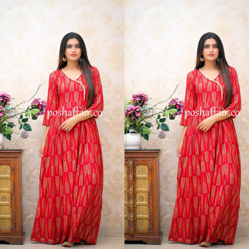 Red Gold Angrakha Maxi Gown