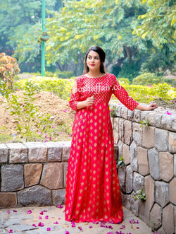 Red Block Combination Maxi Gown