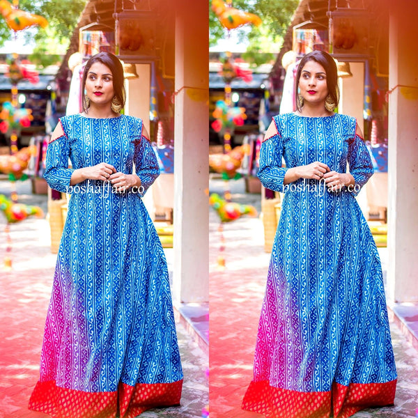 Ethnic Blue Maxi Gown