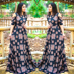 Black Cut Shoulder Maxi Gown