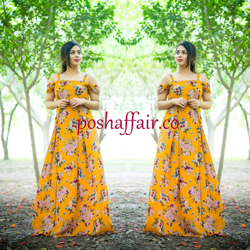 Mustard Yellow Cold Shoulder Maxi Gown