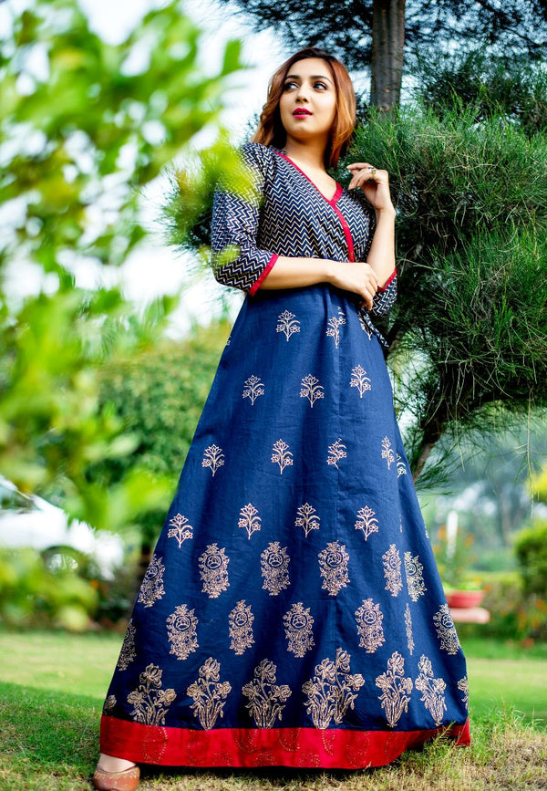 Blue Hand Block Combination Angrakha Maxi
