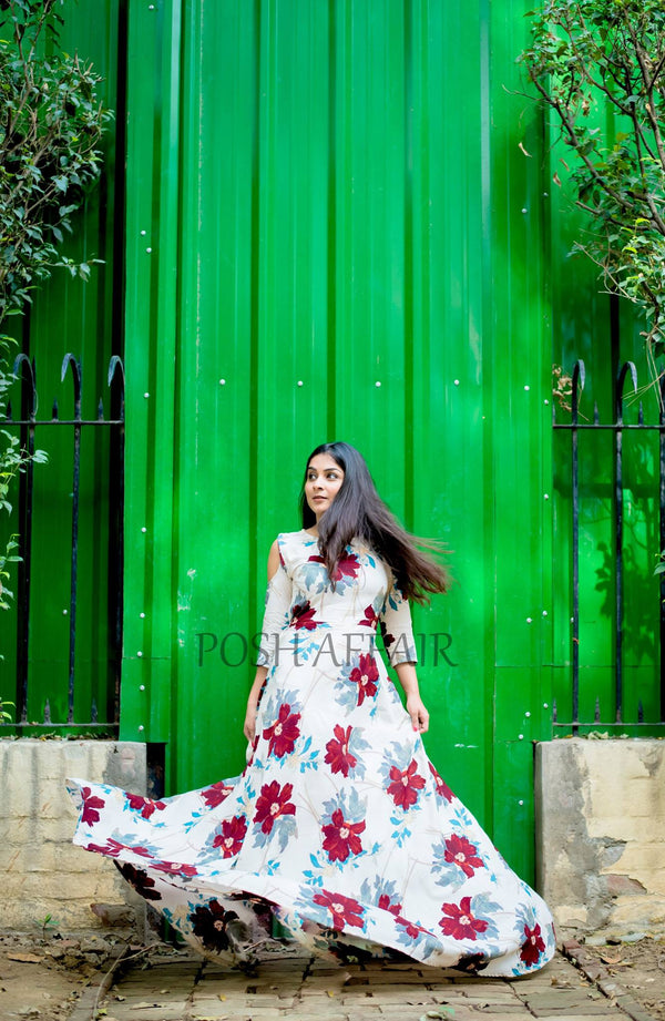 Floral Cold Shoulder Maxi Gown