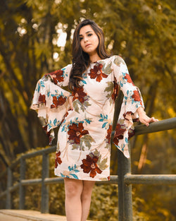 Cream Floral Sleeves Dress