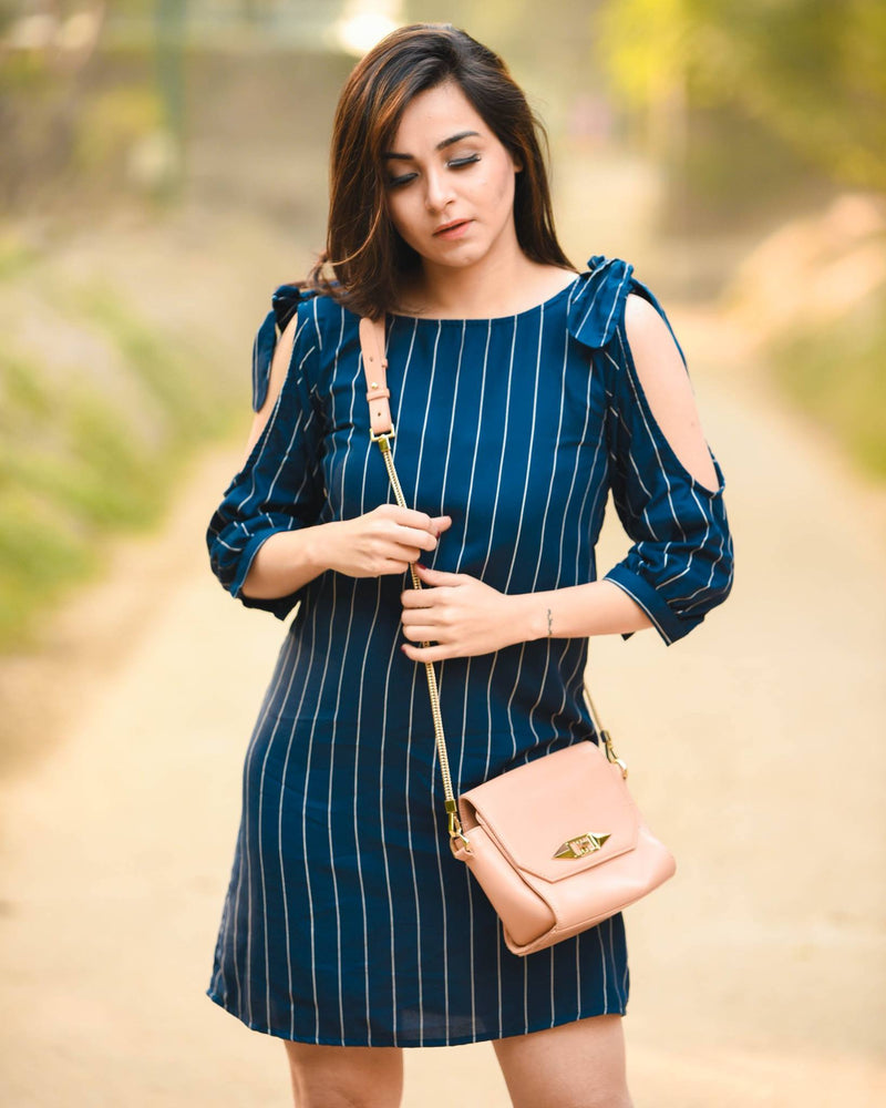 Blue Striped Bow Sleeves Dress