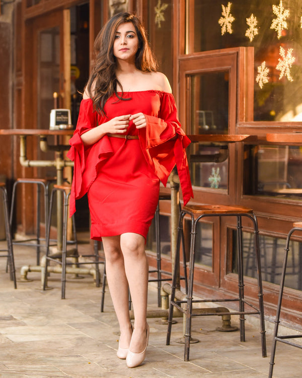 Red Valentine Off Shoulder Dress