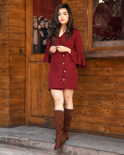 Wine Coat Dress