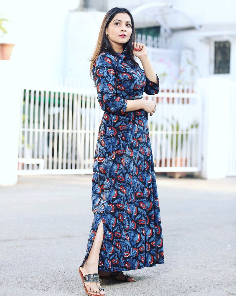 Contrast Printed Maxi Dress