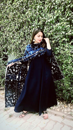 Deep Blue Maxi Dupatta Set