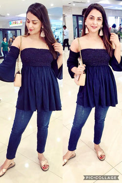 Deep Blue Off Shoulder Top