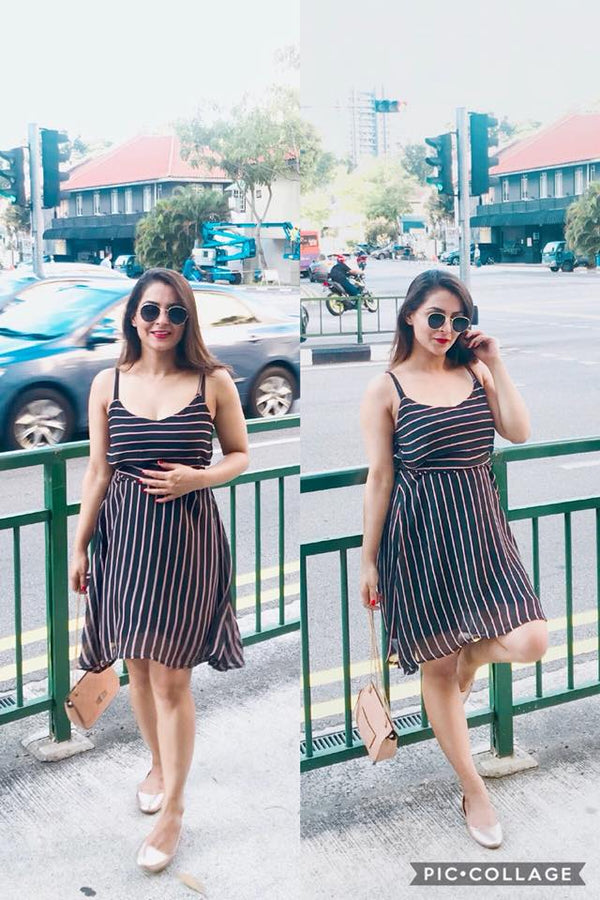 Black Striped Vacay Dress