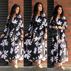 Black and White Floral Maxi