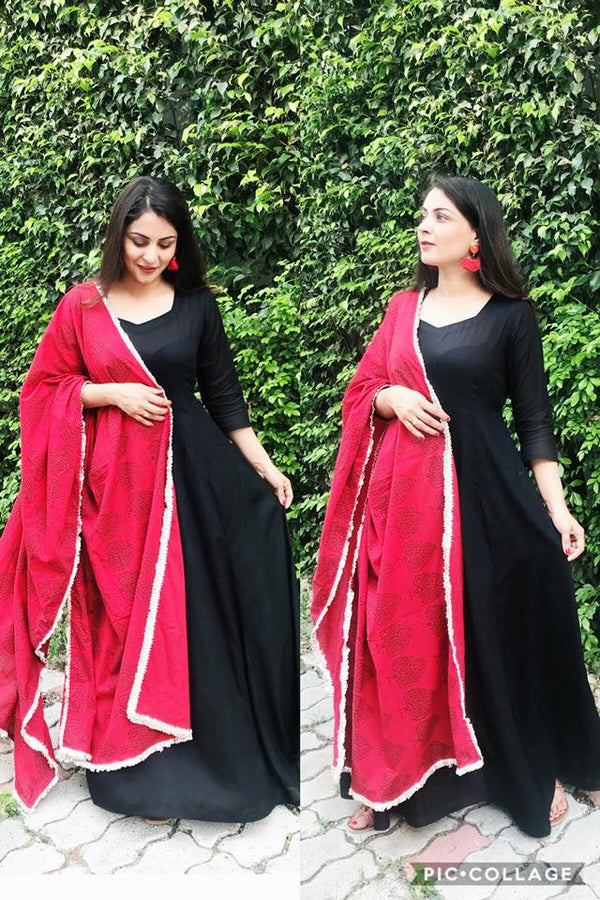 Red Block Maxi Dupatta Set