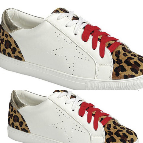 Animal Print Color Block Sneakers