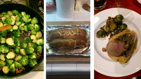 New Year's Eve 2018- Beef Wellington and Citrus Glazed Brussel Sprouts