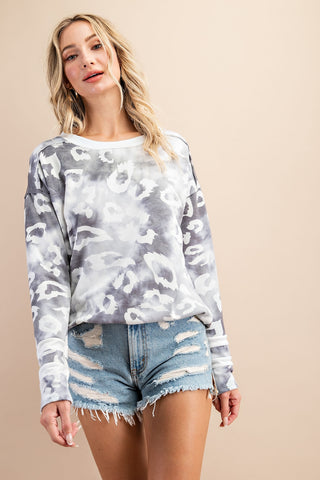 Snow Leopard and Stripes Pullover