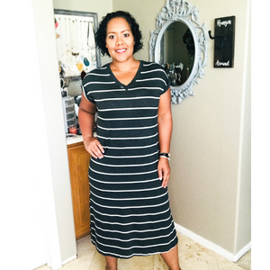 Charcoal Stripe Knit Dress