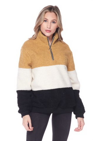 Fuzzy Color Block pull over
