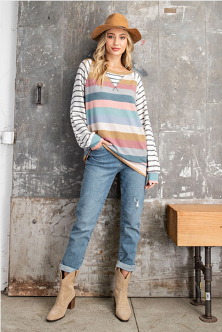 Mixed Up Stripes Pullover
