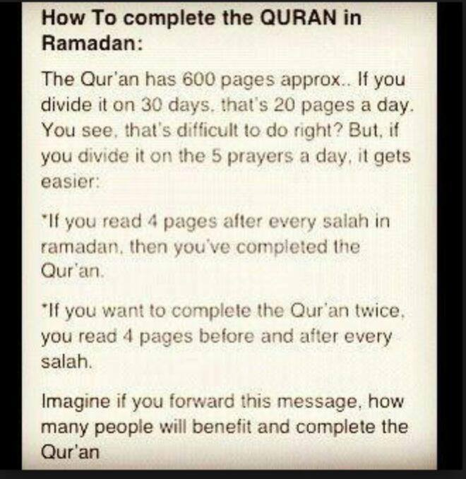 An easy way to read Al-Qu'ran during the Holy month of Ramdan