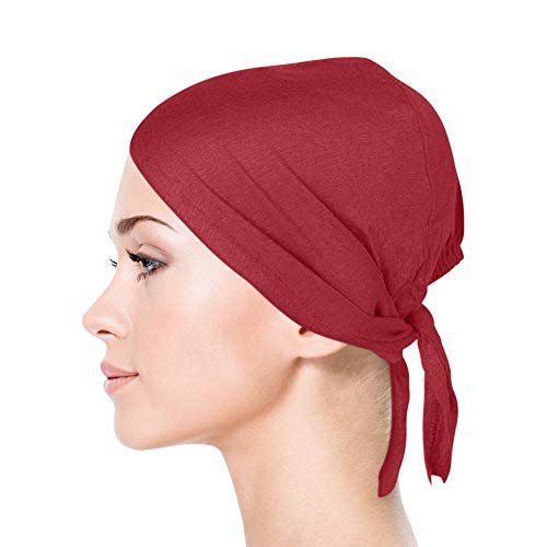 TheHijabStore.com Jersey Bonnet Caps Under Scarf Head Wraps for Women Turban Hat with Tie-Back Closure Burgundy