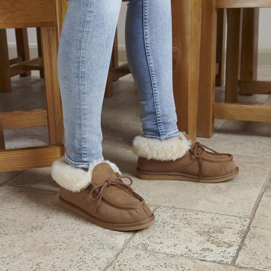 shearling booties slippers