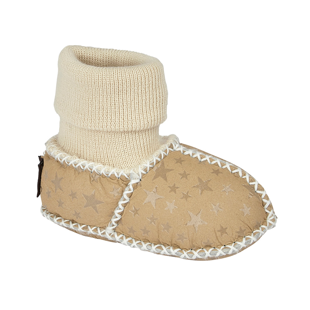 BABY SHEARLING SLIPPER SOCKS - BEIGE STAR