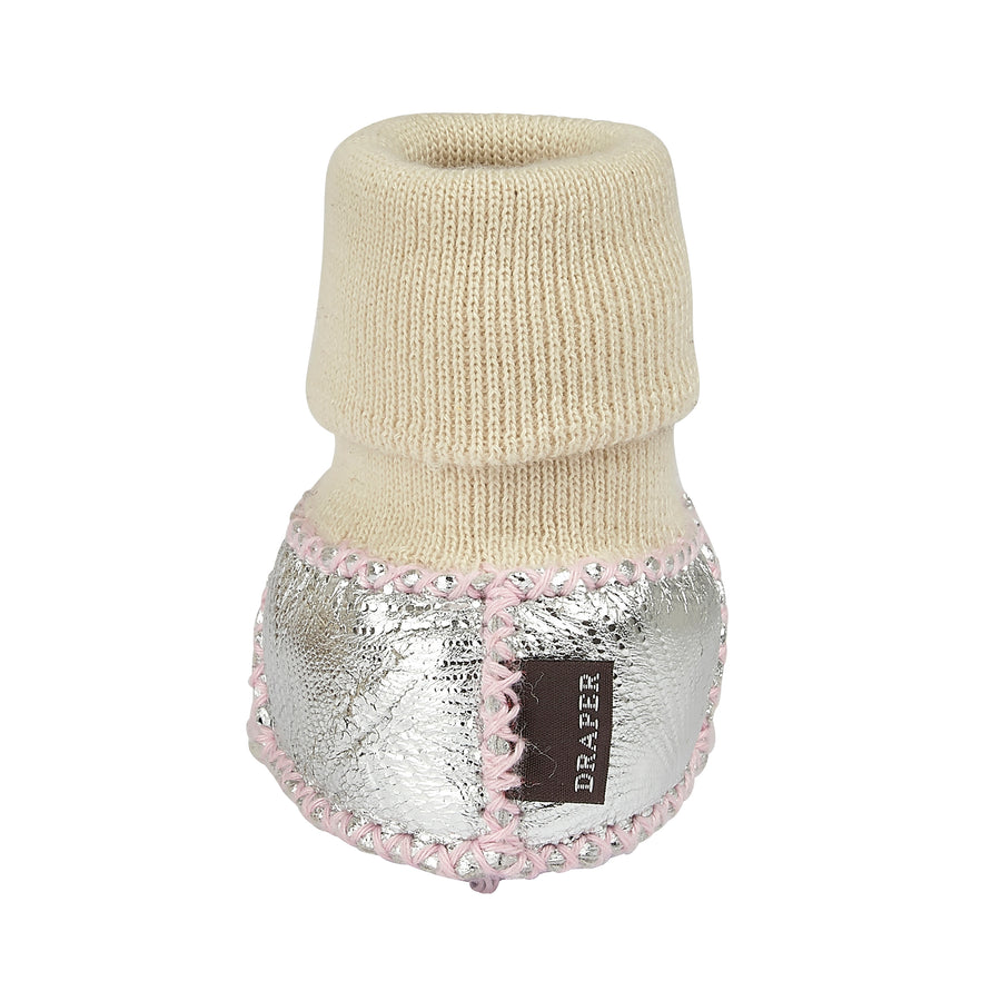 BABY SHEARLING SLIPPER SOCKS - SILVER