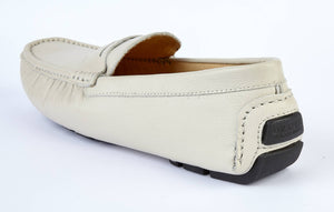 ECRU LEATHER DRIVING SHOE
