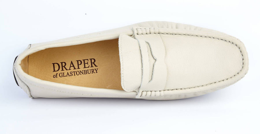 ECRU LEATHER LOAFERS