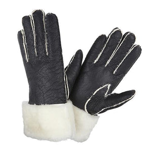 SHEARLING CUFF GLOVES BLACK