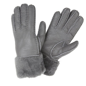 SHEARLING CUFF GLOVES STONE