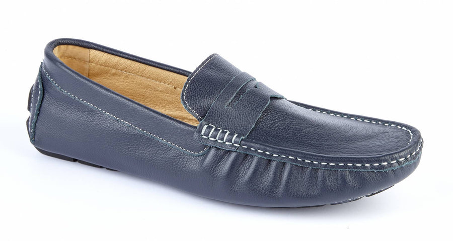 NAVY LEATHER DRIVING SHOE