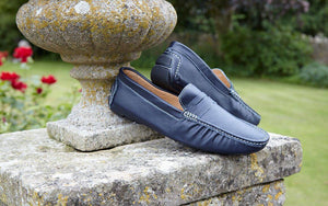 NAVY LEATHER LOAFERS