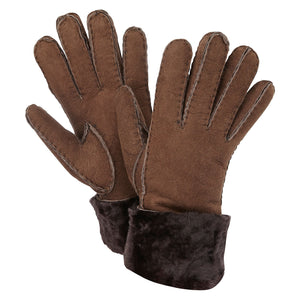SHEARLING CUFF GLOVES BROWN
