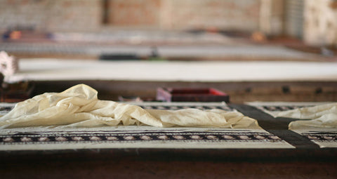 Hand block printing in Bagru village, Jaipur, India.