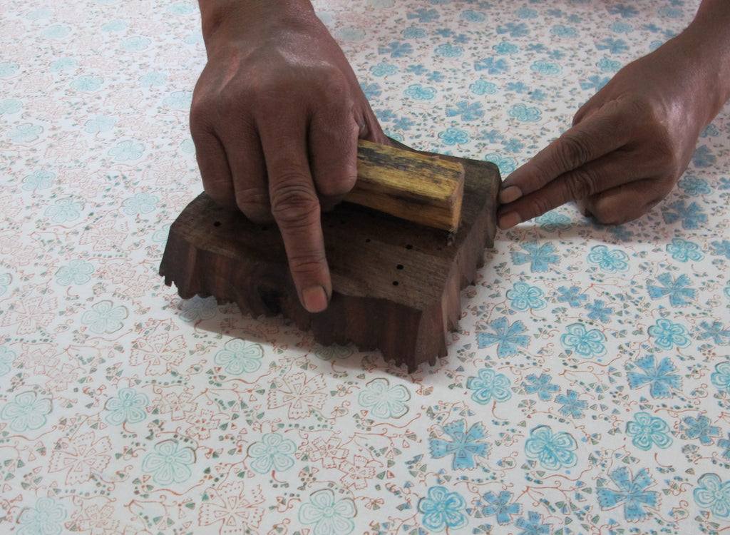 block printing showing each layer of color