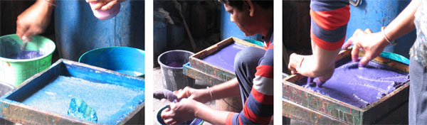 dye mixing for hand block printing in Sanganer