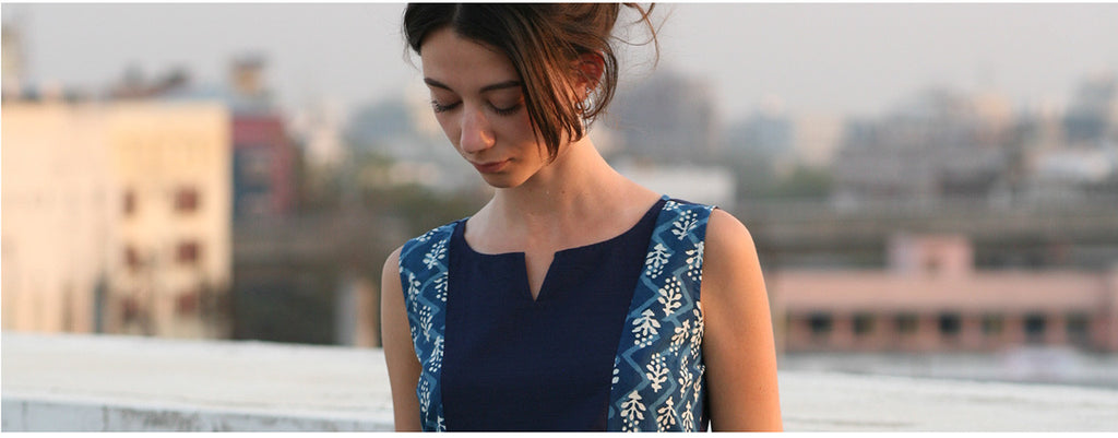 Hand Block Printed Garments in indigo prints, fair trade at Mehera Shaw
