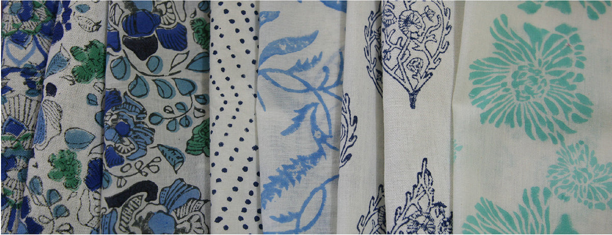 Fair Trade, organic hand block printed cottons made in Jaipur, India by Mehera Shaw.