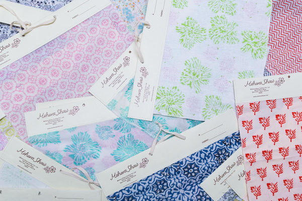 hand block printed fabric swatches at Mehera Shaw