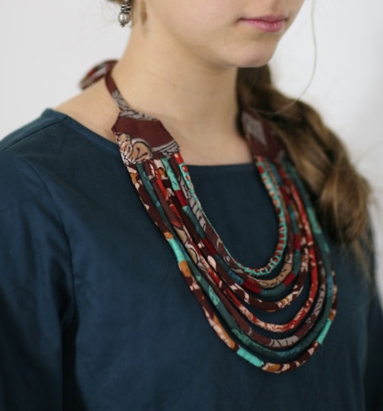 upcycled fabric necklace