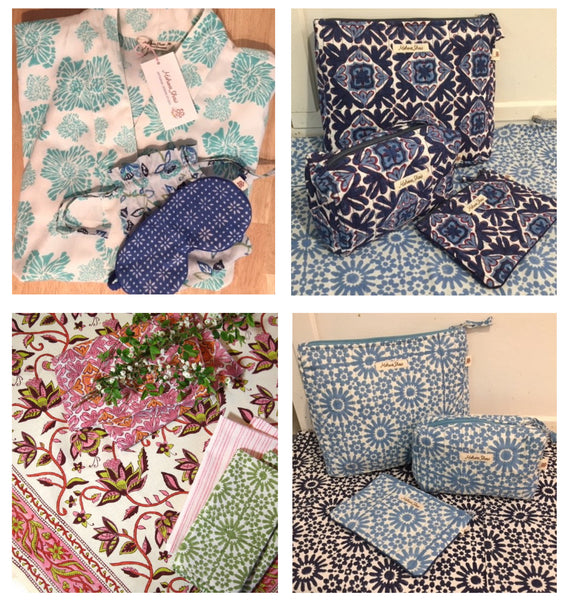 mothr's day gifts hand block printed organic cotton homewares