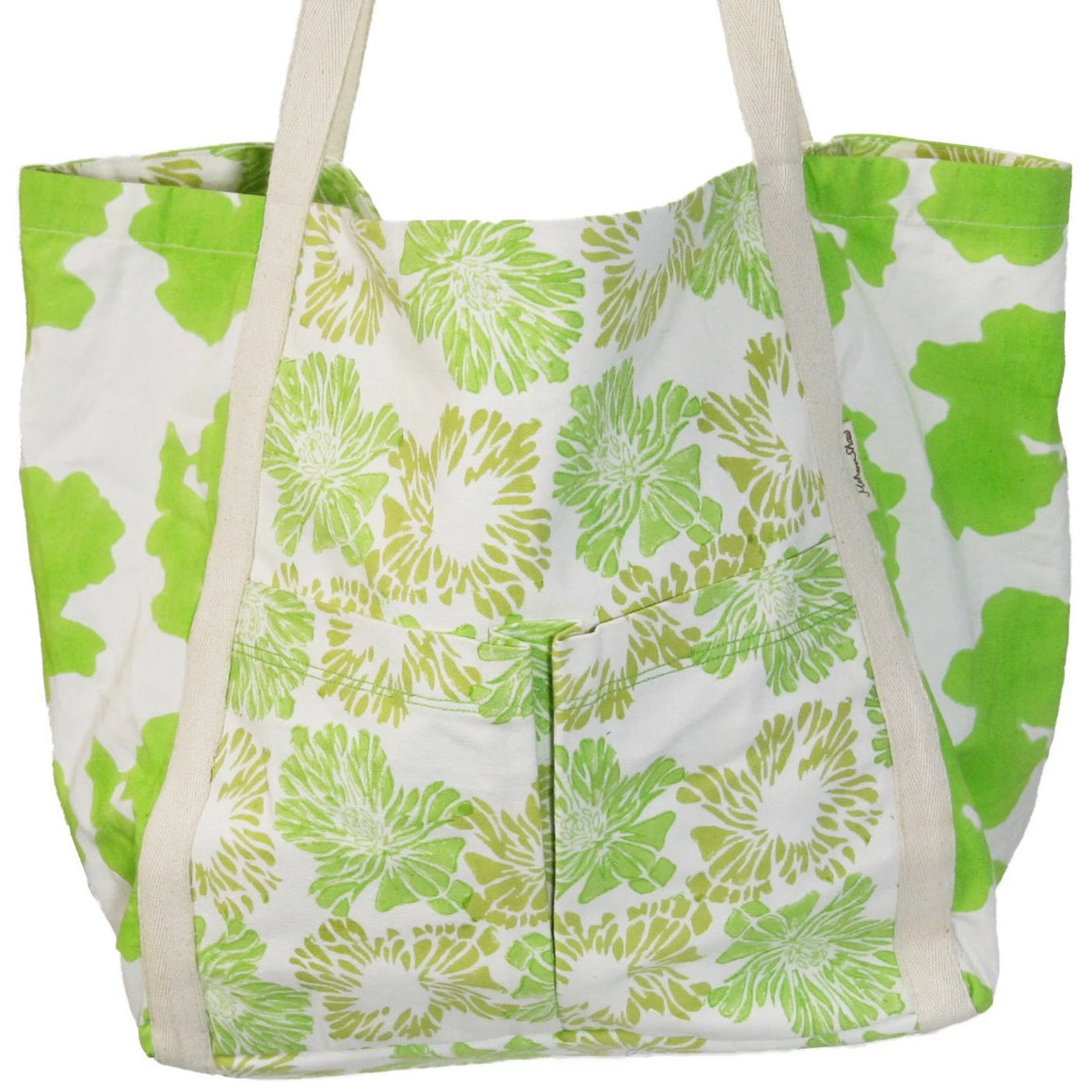 Market Tote in Greenery Print in Organic Cotton Canvas