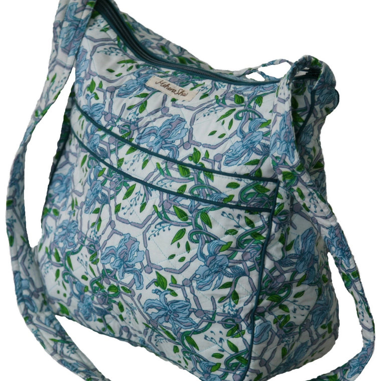 Crossbody Bag in Jodhpur Print Quilted Organic Cotton