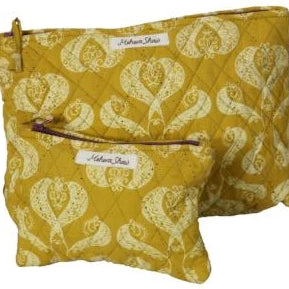 Cosmetics Bag Set in Isabella Print in Quilted Organic Cotton