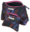 Cosmetic Bag Set in Haiku Print Quilted Organic Cotton
